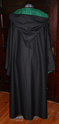 Hunter Green and Black Wizard School Robe - Back View